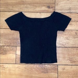 Forget 21 black cropped off the shoulder tee